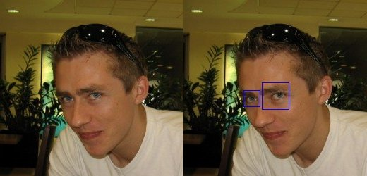 Eyes being detected using opencv