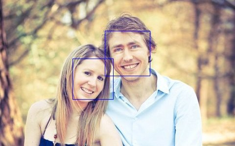 Two faces being detected using OpenCV