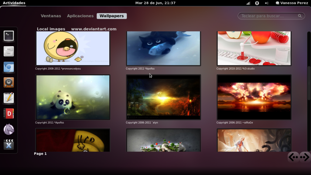 The gnome wallpaper selector in action